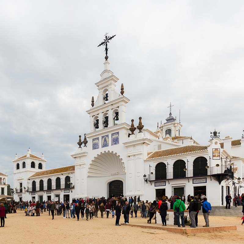 Temple of El Rocio during the Candelaria, one of the rural traditions of El Rocío